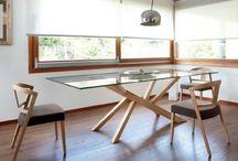 Tables verre et bois