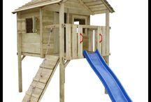 Childrens Garden Playhouse Slide Climbing Outdoor Set Wooden Big Tower Game Kids