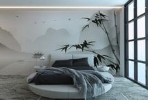 Bedroom wall decor / The exquisite wall decorations we produce are made on a 1mm layer of rollable plaster, a completely handmade backing and they are installed directly on site.
