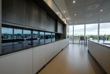 PA Consulting, Victoria / We manufactured and installed bespoke joinery including feature wall panelling, kitchen servery areas and break out pods for this office.