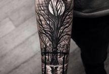 tatuajes de bosques y montañas