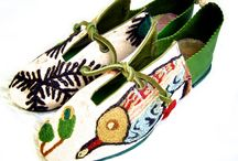 Crewel / These shoes are made of vintage wool crewel embroidered fabric.