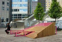 Mobiliário urbano de áreas de lazer