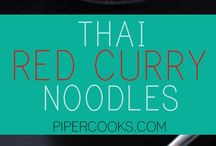 Thai Inspired Recipes / Collection of Thai food recipes and thai inspired recipes, like Pad Thai, Pad See Ew, Red curry, Green curry, Tom Kha Gai.