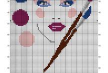 Salle de bains-bathroom-Wc-Point de croix-cross stitch / mes créations sur Blog : http://broderiemimie44.canalblog.com/ point de croix - cross stitch - broderie - embroidery