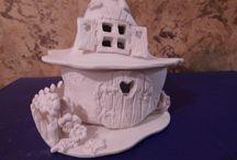 pottery ceramic house / keramické domček z hliny - svietnik