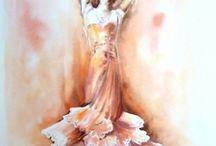 Danseurs à l'aquarelle