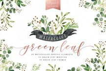 Watercolor Green Leaf Clip Art by Graphic Box on