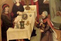 Leggenda di San Giacomo-maestro strasburghese, 1470 / Un padre e suo figlio vanno in pellegrinaggio dal Santo, e sostano in un albergo. La figlia del proprietario si incapriccia del giovane e, respinto, cospira contro di lui e lo fa condannare alla forca. Il padre va dal giudice per chiedere di risparmiare la vita al figlio, e il giudice gli dice che il giovane è vivo come le quaglie morte che sta per mettere nello spiedo. A queste parole, gli uccelli si levano in volo