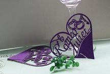 marque place coeur mariage violet,porte noms violet,etiquette  violette,romeo et juliette
