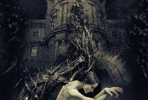 Gothic Romance Inspiration / For a period in my teen years I was addicted to Zebra Publishers Gothic Romances. I love how this genre had the common cover theme of a woman running away from a house with one light on.