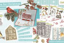 CraftEmotions Home for Christmas Collection / A collection matching products for cardmaking, mixed media and more. Available products: decorated paperstack, dies, clearstamps, masks, wooden ornaments