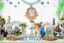 Festa Frozen azul e verde!