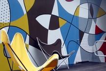 wall art / retro murals and colour blocking