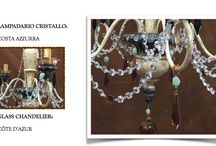 Tadini Monte Carlo Home Fashion / Hand painted Glass Chandelier, made with Boemia Crystal & Jade stones