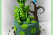 dragon cakes and toppers