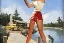 vintage fishing girl