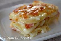 Pasticcio di patate e formaggio e prosciutto