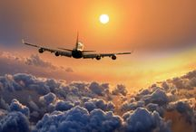 """""""Flying High"""" / """"I was raised in the Golden Age of Flying. My father was a Captain and head of  pilot training on the 707 for American; my mom was a 'Stew' back on the DC-4; I was a Flight Attendant for American in the 70's. """"Love the smell of jet fuel in the morning, lol"""" / by Kathy Baker"""