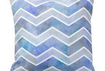 Chevron watercolor throw pillows