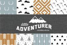 Baby room ideas / navy, mint, grey, fox, little bit of orange. Mountain, woodlands.