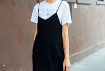 Black and white slip dress