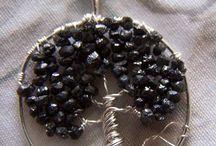 black diamond jewelry tree silver pendant