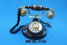 ANTIQUE TELEPHONE & CLOCK / CLOCK