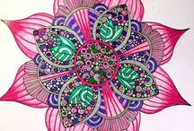 Completed mandala pages