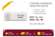 Ebay Flash Sale: Toshiba 16 GB Pendrive for Rs 99 only ( New users only ) http://www.dwtricks.com/2016/09/ebay-flash-sale-16-gb-pendrive-new-users-only.html/