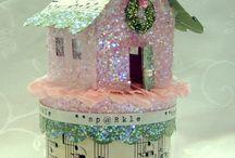 Christmas -Glitter Houses / christmas glitter houses, putz houses