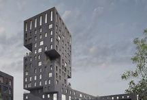 high buildings facade