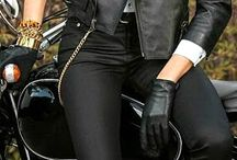 THE LADY, HER BIKE AND OUTFIT! / Ladies motorcycle and outfit.