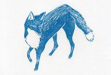 Linocut Animals.