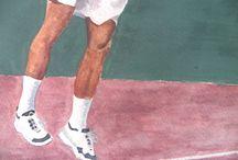 "Cedric Pioline (FRA) ""Detalle"" / Detalle de pintura original. Ver tablero Tennis."