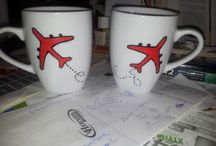 Painted cups. Aircraft