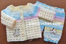 Crochet baby coat and pant sets