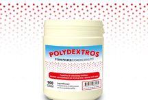 Polydextros / Polydextros är vattenlösliga kostfibrer. Används som kosttillskott och till att ge body i drycker med mera. http://allt-fraktfritt.se/halsa-och-kost/vattenlosliga-kostfibrer.html