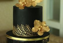 gold and black cakes