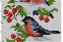 Výšivka-ptáci a jiná zvířena