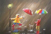 rainy day painting acrylic