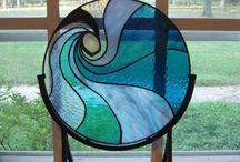 stained glass blue circle