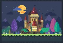 Vector flat backgrounds and landscapes