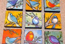 pintura de pássaros