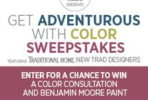 "BenMooreColorSweepstakes / Traditional Home and Benjamin Moore have invited New Trad designers, Ginger Brewton, Cecily Mendell and Heather Garrett, to create custom Pinterest mood boards reflecting their ""traditional-with-a-twist"" styles, using Benjamin Moore's newest color palettes. Want to join the fun? Create your own board and be entered for a chance to win a room color consultation from one of us and paint for your project from Benjamin Moore! Check out our boards and get inspired at TraditionalHome.com/BenMoore  / by cecy j interiors"