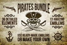 Pirate tattoos emblems logos