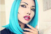 make-up,  style, etc.