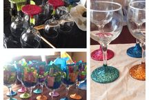 Glitter wine glasses / Tape at the stem add a glue then cover in glitter then at a clear coat to finish them off!