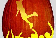 Sports Themed Pumpkin Stencils / Sports themed Halloween pumpkin carving stencils. Basketball, Football, Soccer, Baseball and more.