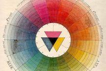Antique colour wheels and colour charts